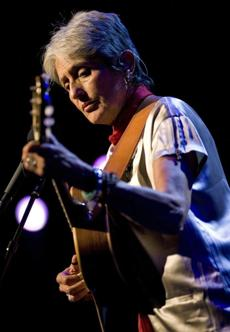 Joan Baez performs during the 42nd Montreux Jazz Festival in 2008.